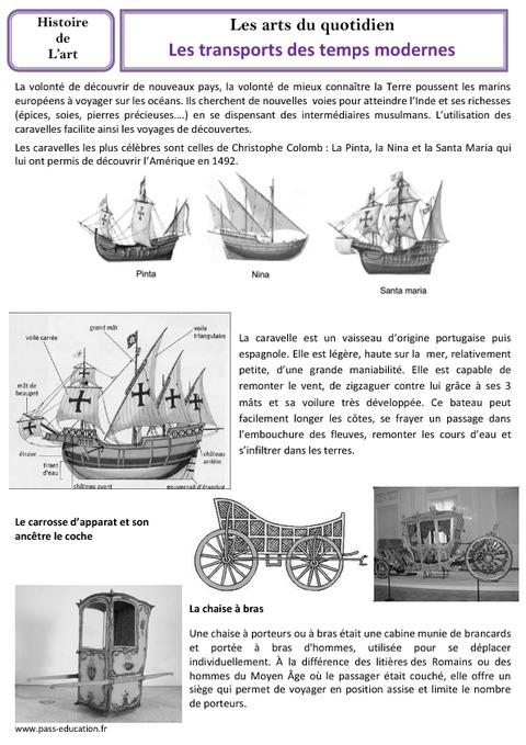 transports des temps modernes cm1 cm2 arts du quotidien histoire des arts cycle 3