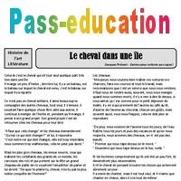 840018afc9b Le cheval dans une île - Jacques Prévert - Arts du langage – Cm2 – Histoire  des arts – XXème siècle – Cycle 3 - Pass Education