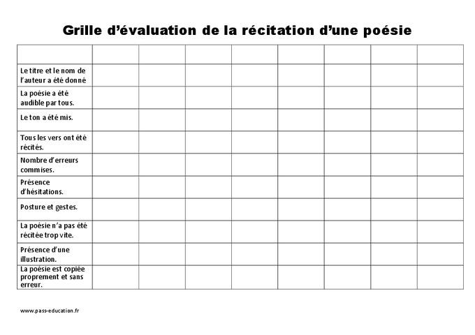 Grille d 39 valuation de la po sie ce2 cm1 cm2 - Grille evaluation expression ecrite anglais ...