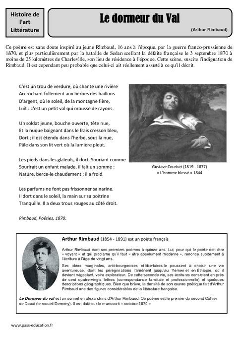 Le dormeur du val arthur rimbaud arts du langage xixe si cle cm1 cm2 histoire des - Le dormeur du val rimbaud ...