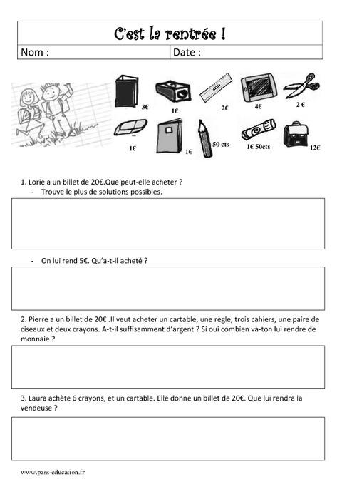 Problème de rentrée CE2 - CM1 - Mathématiques - Cycle 3 ...
