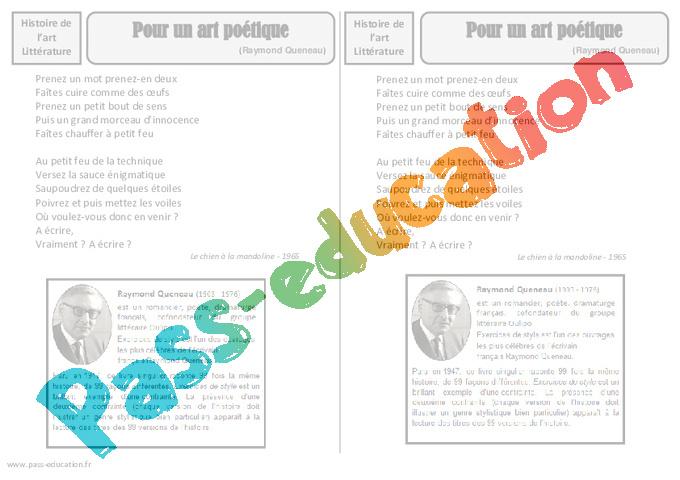 b4132d9bae2 Art poétique - Raymond Queneau - Arts du langage – Cm2 – Histoire ...