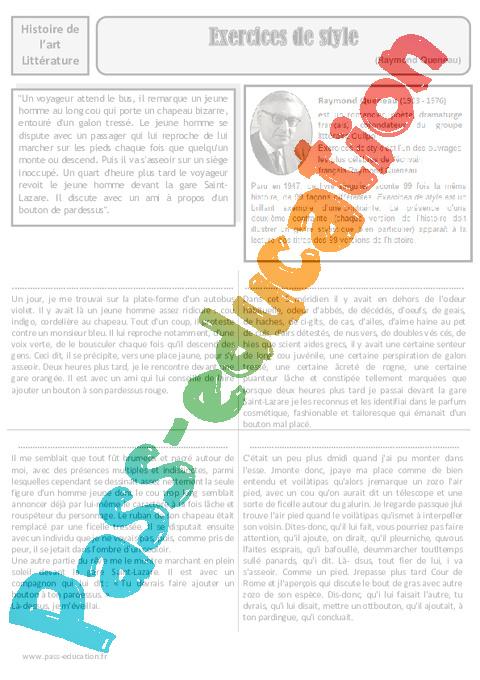 1beda29019c Exercices de style - Raymond Queneau - Arts du langage – Cm2 ...