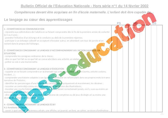 Grille de comp tences maternelle documents officiels - Grille des salaires education nationale ...