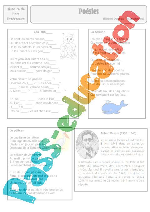 fdcade73d00 Poésies - Robert Desnos - Arts du langage – Cm2 – Histoire des arts ...