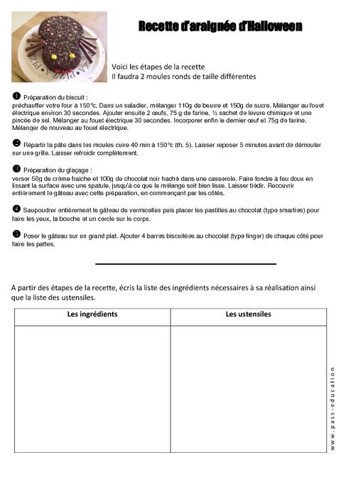 Recette de g teau araign e halloween texte prescriptif - Faire une araignee pour halloween ...