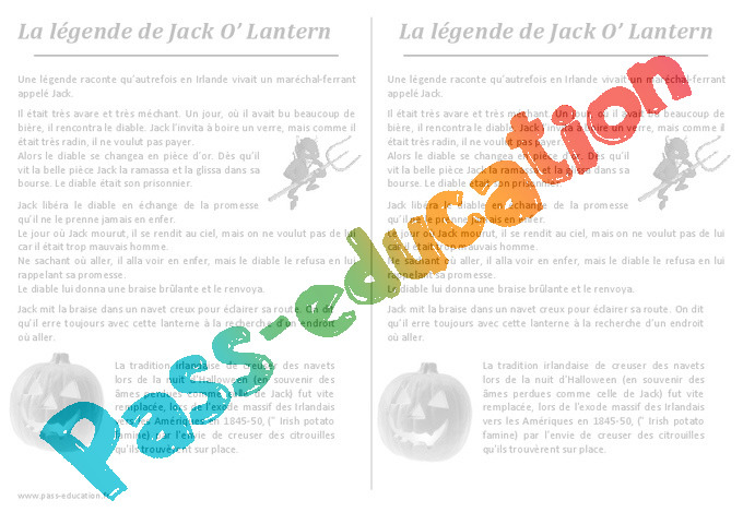 La Légende De Jack O Lantern Halloween Récit Ce2 Cm1