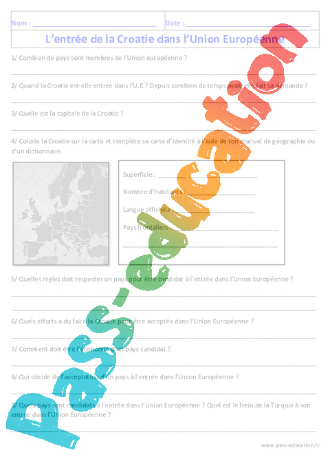 Croatie Carte Identite.Entree De La Croatie Dans L Ue Geographie Cm2 Exercices