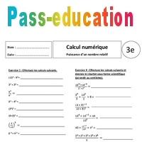 Puissance d un nombre relatif exercices corrig s 3 me calcul num rique pass education - Calcul puissance chambre froide ...
