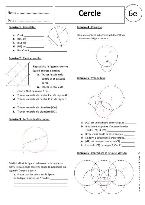 Cercle 6 me exercices corrig s g om trie pass education - Evaluation de maison gratuite ...