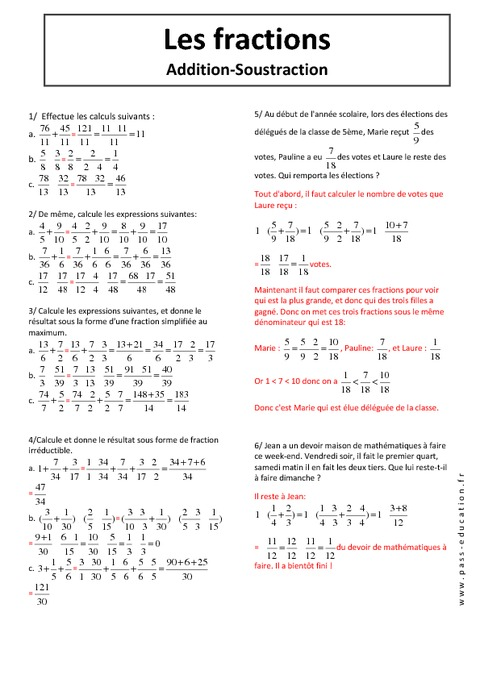 Additions - Soustractions - Fraction - 5ème - Exercices ...
