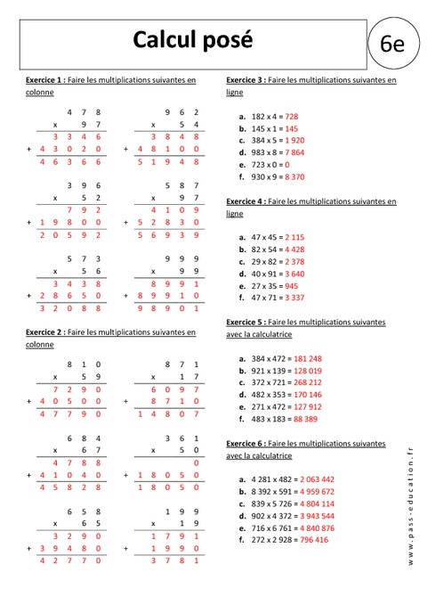 calcul pos multiplication 6 me exercices corrig s