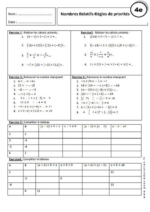 Règles de priorités - 4ème - Exercices corrigés - Nombres ...