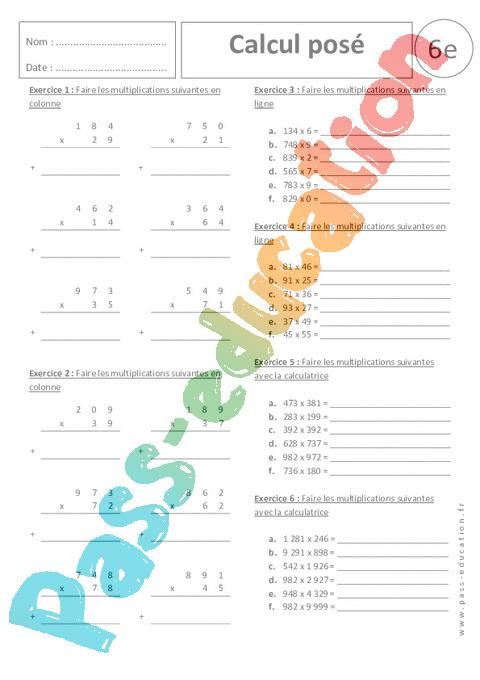 calcul pos u00e9 - multiplication - exercices corrig u00e9s