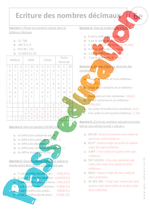 Relativ Ecriture des nombres décimaux - 6ème - Exercices corrigés - Pass  AJ87