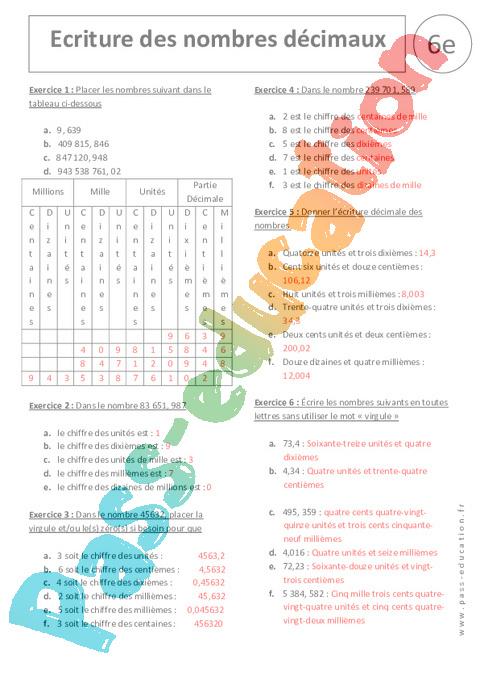 Relativ Ecriture des nombres décimaux - Exercices corrigés - 6ème - Pass  AJ87