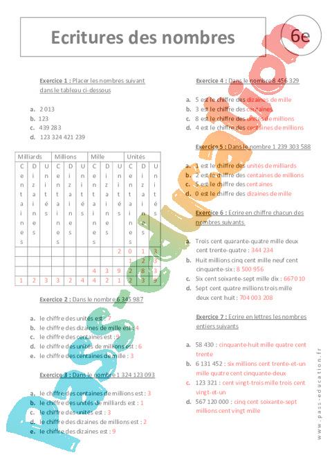 Relativ Ecriture des nombres - Exercices corrigés - 6ème - Nombres entiers  AJ87