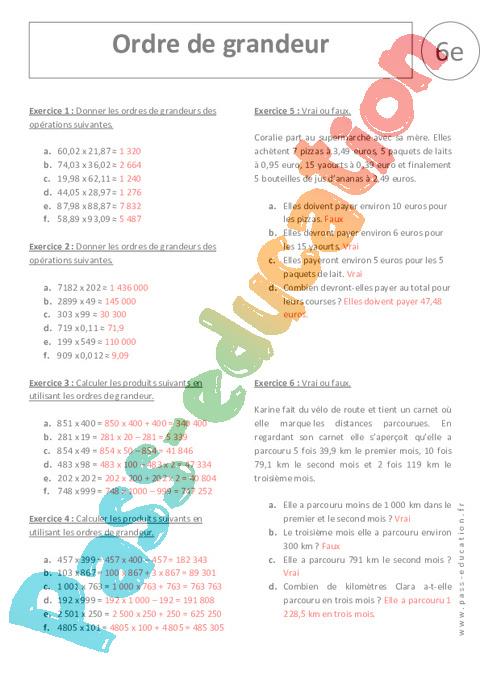 Ordre de grandeur multiplication 6 me exercices for Table de multiplication par 99
