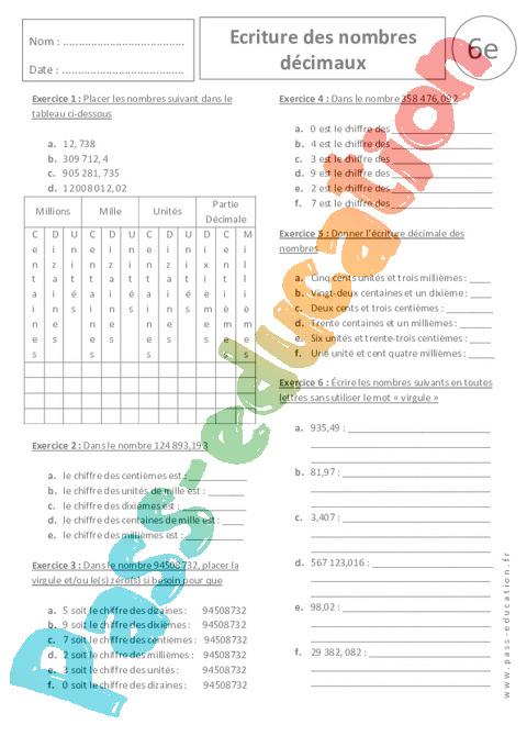 Hervorragend Ecriture des nombres décimaux - 6ème - Exercices corrigés - Pass  QW65
