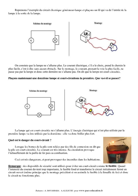 circuit lectrique cours 5 me physique chimie coll ge pass education. Black Bedroom Furniture Sets. Home Design Ideas