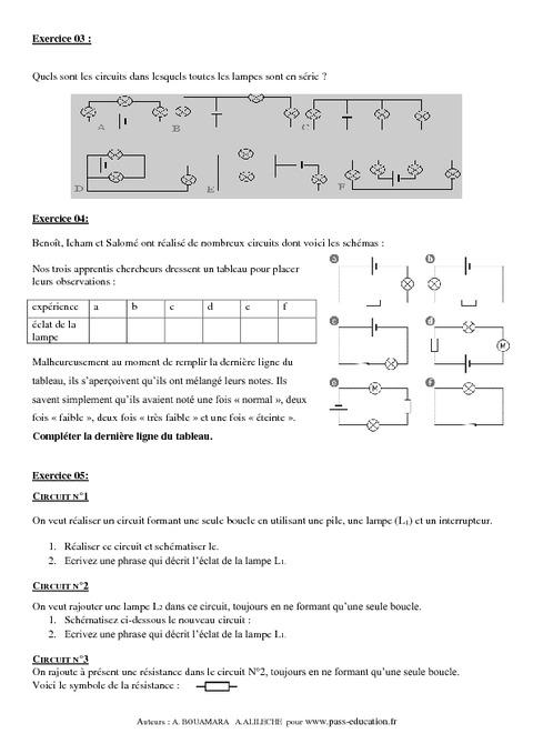 Evaluation circuit electrique 5eme