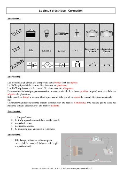 Circuit lectrique exercices corrig s 5 me physique for Circuit logique pdf