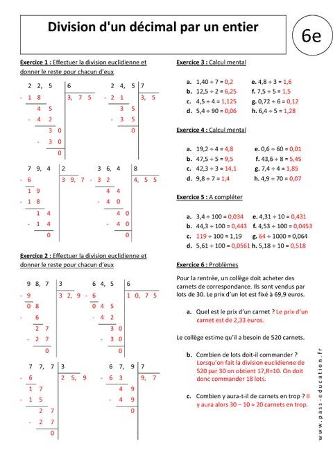 Division d 39 un d cimal par un entier 6 me exercices for Exercice table de 6
