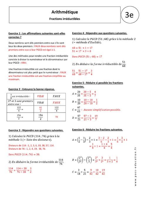 Maths DM rendre une fraction irréductible 3ème Mathématiques