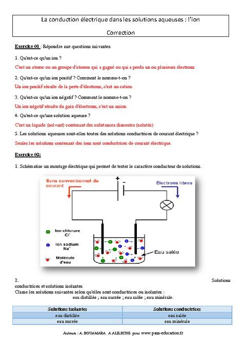 Ion - Conduction électrique dans les solutions aqueuses ...