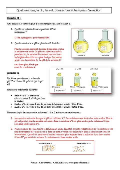Quelques ions, le pH, les solutions acides et basiques