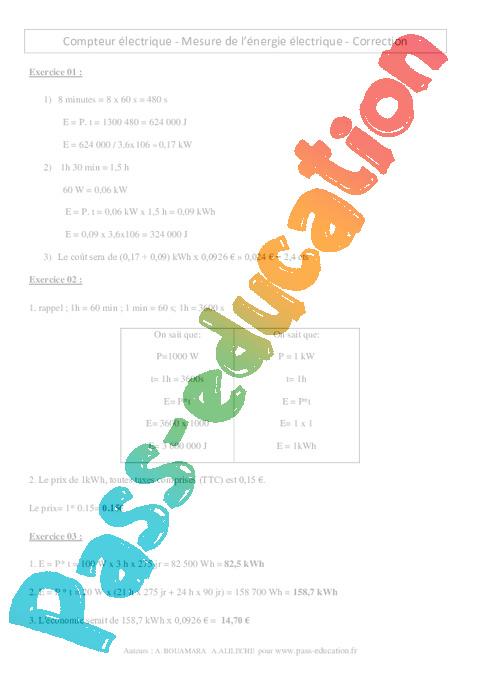 Compteur lectrique mesure de l nergie lectrique 3 me exercices corri - Comment calculer le prix de l electricite ...