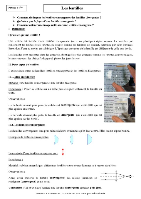 cours sur les lentilles pdf
