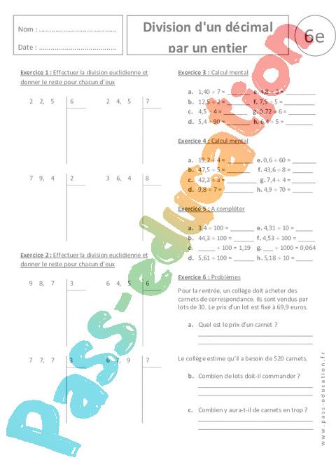 Division d 39 un d cimal par un entier 6 me exercices corrig s divisions pass education - Division a imprimer ...