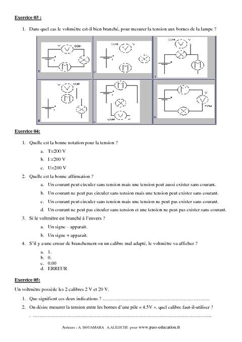 Exercices de physique 4ème Maths ScExp et ScTech - TuniSchool