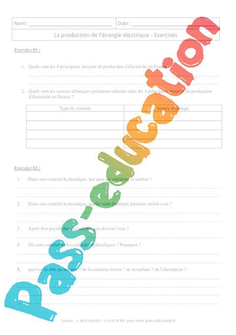 Production de l nergie lectrique 3 me exercices corrig s physique c - Un editorial sur l energie electrique ...
