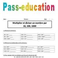 Multiplier Diviser Un Nombre Par 10 100 1000 Cm2 Exercices
