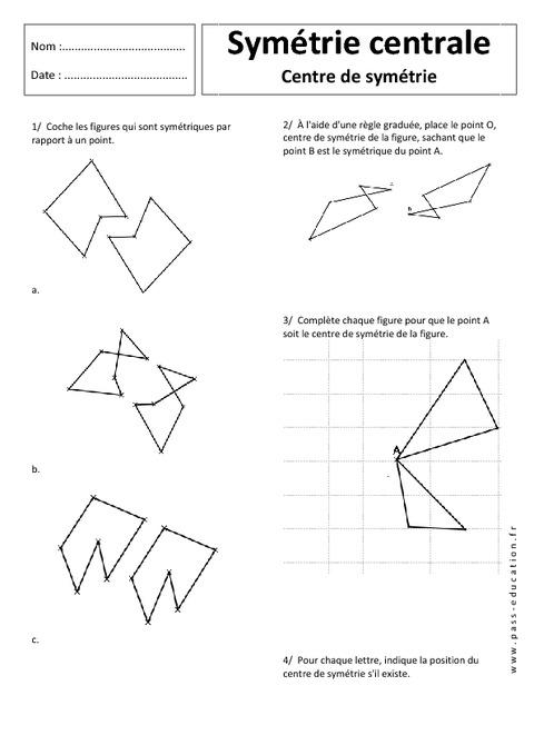 Centre de sym trie sym trie centrale 5 me exercices corrig s g om trie pass education - Symetrie a imprimer ...