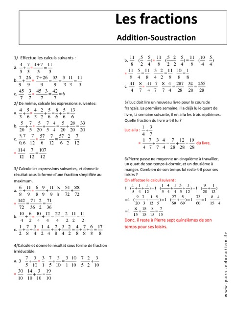 Additions - Opérations sur les fractions - Exercices ...