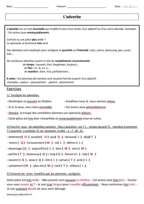 Adverbes - Cm1 - Cm2 - Leçon - Exercices corrigés - Grammaire - Cycle 3 - Pass Education