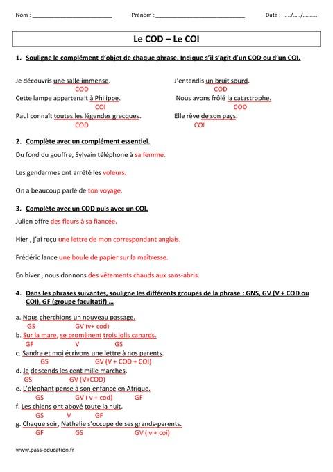 COD - COI - Complément d'objet - Direct - Indirect - Cm1 - Cm2 - Evaluation - Pass Education