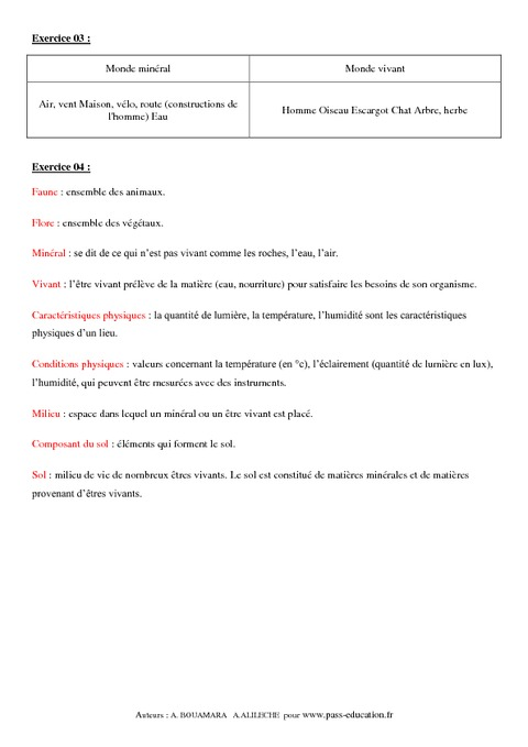 Caractéristiques de notre environnement - 6ème - Exercices ...