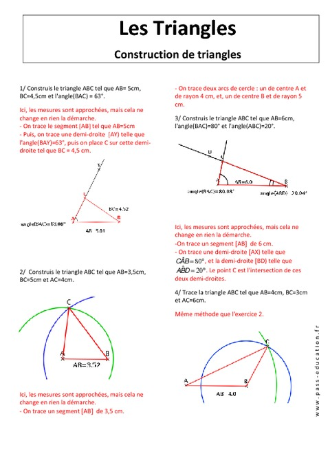 Construction de triangles - 5ème - Exercices corrigés ...