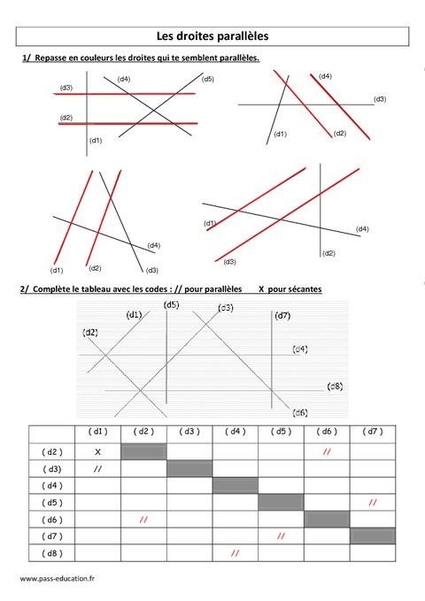 Droites parallèles - Cm1 - Cm2 - Exercices corrigés - Géométrie - Cycle 3 - Pass Education