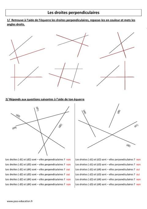 Droites perpendiculaires - Cm1 - Cm2 - Exercices corrigés ...