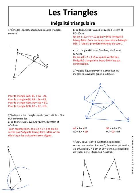 Inégalité triangulaire - Triangles - Exercices corrigés ...