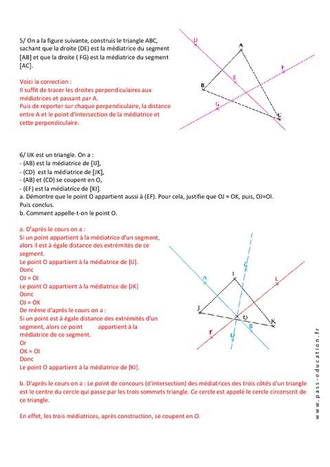 M diatrice et cercle circonscrit triangles exercices corrig s 5 me g - Evaluation de maison gratuite ...