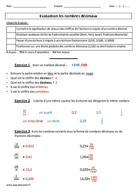 Nombres décimaux - Cm2 - Evaluation - Pass Education