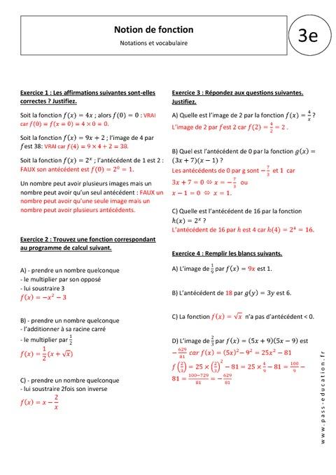 Notion de fonction - Exercices corrigés - 3ème ...