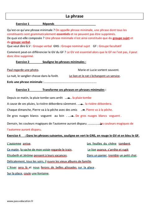 Phrase - Evaluation - Cm1 - Cm2 - Grammaire - Cycle 3 ...