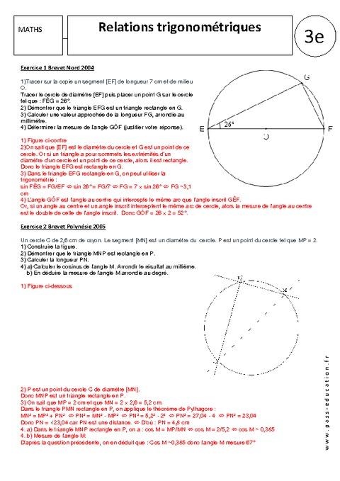 Relations trigonométriques - Exercices corrigés - 3ème ...